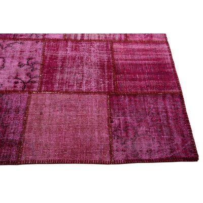 Kayla Patchwork Hand-Knotted Wool Pink/Gray Area Rug