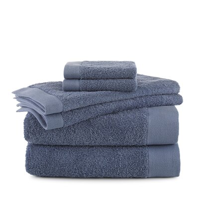 Marquette Terry Flax 6 Piece Towel Set Color: Pacific Blue