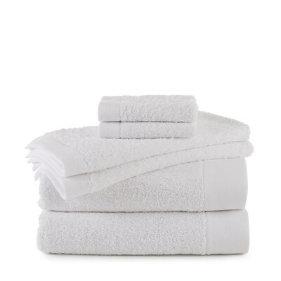 Marquette Terry Flax 6 Piece Towel Set Color: White