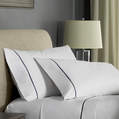 Beerman Satin Stitch Pillow case Size: King, Color: White/Indigo