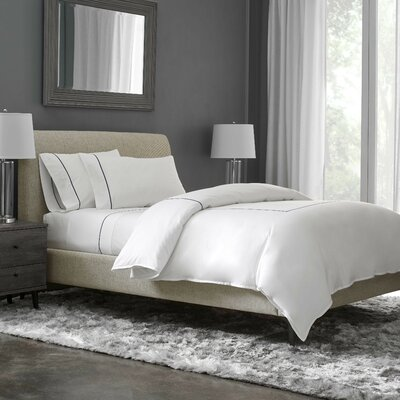 Beerman Stitch 300 Thread Count Satin Sheet Set Size: Full, Color: White/Indigo