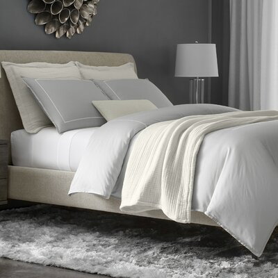 Beerman Stitch 300 Thread Count Satin Sheet Set Size: King, Color: Gray/White