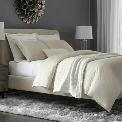 Beerman Stitch 300 Thread Count Satin Sheet Set Size: King, Color: Natural/White