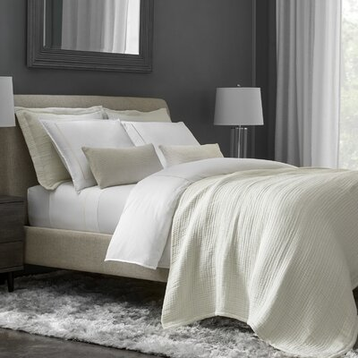 Beerman Stitch 300 Thread Count Satin Sheet Set Size: King, Color: White/Ivory