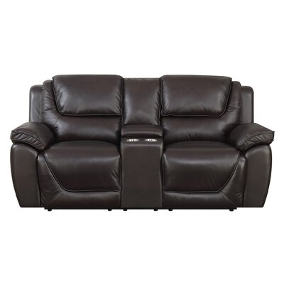 Rish Leather Reclining Loveseat Recliner Mechanism: Manual Recline