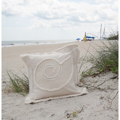 Southampton Coastal Frayed Nautilus Applique 100% Cotton Throw Pillow Color: Ivory, Size: 27 H x 27 W