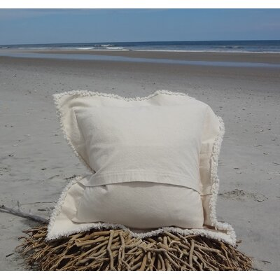 Sacramento Coastal Frayed Star Fish Applique 100% Cotton Throw Pillow Color: Ivory, Size: 27 H x 27 W