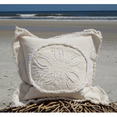 Westport Coastal Frayed Sand Dollar Applique 100% Cotton Throw Pillow Pillow Color: Ivory, Size: 27 H x 27 W