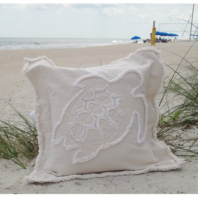 Orchard Coastal Frayed Sea Turtle Applique 100% Cotton Throw Pillow Color: Ivory, Size: 22 H x 22 W