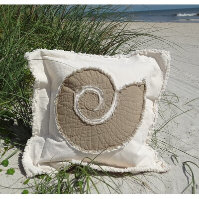 Southampton Coastal Frayed Nautilus Applique 100% Cotton Throw Pillow Color: Cream/Brown, Size: 22 H x 22 W