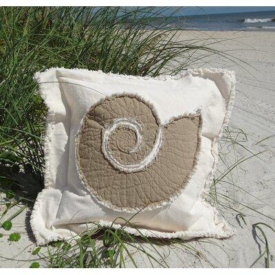 Southampton Coastal Frayed Nautilus Applique 100% Cotton Throw Pillow Color: Cream/Brown, Size: 27 H x 27 W