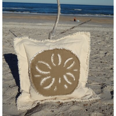 Westport Coastal Frayed Sand Dollar Applique 100% Cotton Throw Pillow Pillow Color: Cream/Brown, Size: 27 H x 27 W