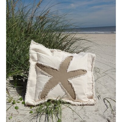 Sacramento Coastal Frayed Star Fish Applique 100% Cotton Throw Pillow Color: Cream/Brown, Size: 22