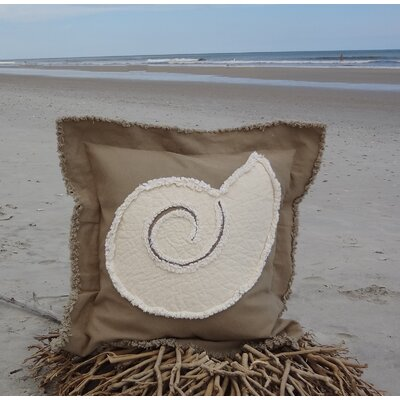 Southampton Coastal Frayed Nautilus Applique 100% Cotton Throw Pillow Color: Khaki/Ivory, Size: 22 H x 22 W