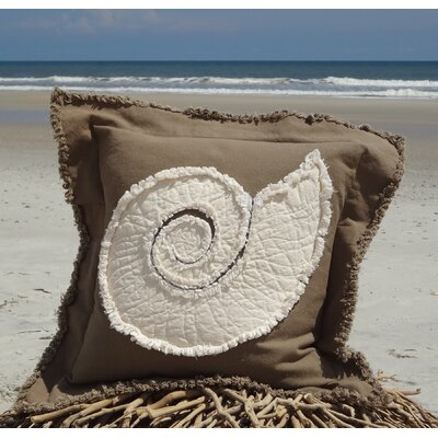Southampton Coastal Frayed Nautilus Applique 100% Cotton Throw Pillow Color: Mocha/Ivory, Size: 22 H x 22 W