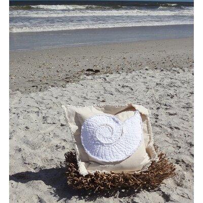 Southampton Coastal Frayed Nautilus Applique 100% Cotton Throw Pillow Color: Ivory/White, Size: 22 H x 22 W