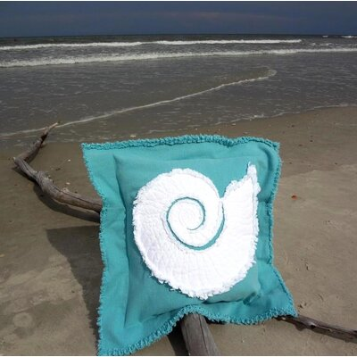 Southampton Coastal Frayed Nautilus Applique 100% Cotton Throw Pillow Color: Caribbean Blue/White, Size: 22 H x 22 W