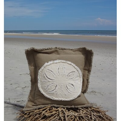 Westport Coastal Frayed Sand Dollar Applique 100% Cotton Throw Pillow Pillow Color: Khaki/Ivory, Size: 22 H x 22 W