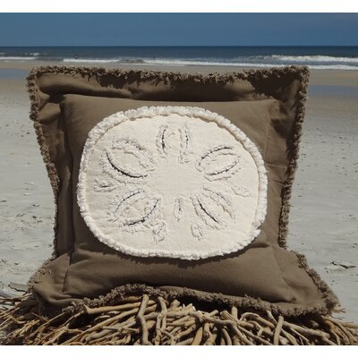 Westport Coastal Frayed Sand Dollar Applique 100% Cotton Throw Pillow Pillow Color: Mocha/Ivory, Size: 22 H x 22 W