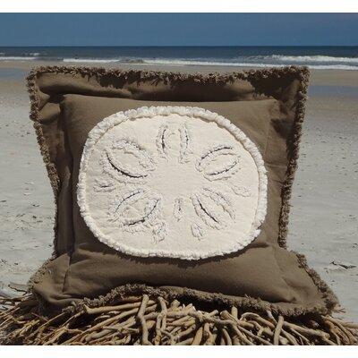 Westport Coastal Frayed Sand Dollar Applique 100% Cotton Throw Pillow Pillow Color: Mocha/Ivory, Size: 22