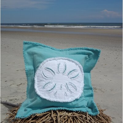 Westport Coastal Frayed Sand Dollar Applique 100% Cotton Throw Pillow Pillow Color: Caribbean Blue/White, Size: 22 H x 22 W