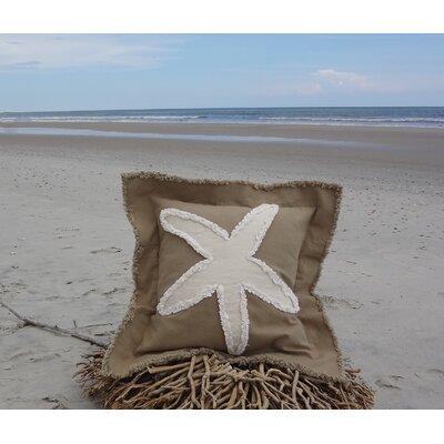 Sacramento Coastal Frayed Star Fish Applique 100% Cotton Throw Pillow Color: Khaki/Ivory, Size: 22 H x 22 W