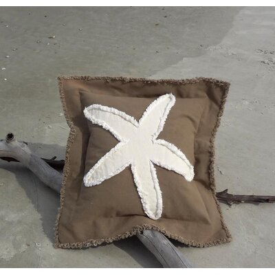 Sacramento Coastal Frayed Star Fish Applique 100% Cotton Throw Pillow Color: Mocha/Ivory, Size: 22 H x 22 W