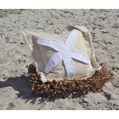 Sacramento Coastal Frayed Star Fish Applique 100% Cotton Throw Pillow Color: Ivory/White, Size: 22 H x 22 W