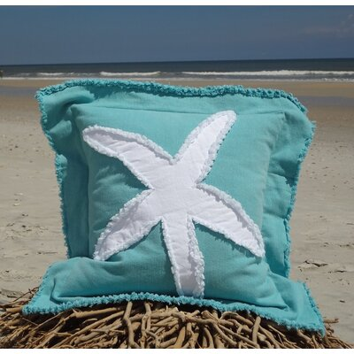 Sacramento Coastal Frayed Star Fish Applique 100% Cotton Throw Pillow Color: Caribbean Blue/White, Size: 22