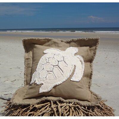 Orchard Coastal Frayed Sea Turtle Applique 100% Cotton Throw Pillow Color: Khaki/Ivory, Size: 22 H x 22 W