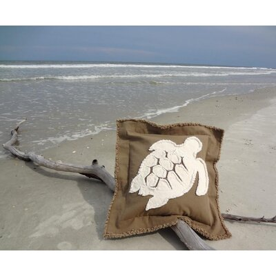 Orchard Coastal Frayed Sea Turtle Applique 100% Cotton Throw Pillow Color: Mocha/Ivory, Size: 22 H x 22 W