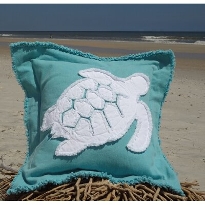 Orchard Coastal Frayed Sea Turtle Applique 100% Cotton Throw Pillow Color: Caribbean Blue/White, Size: 22 H x 22 W
