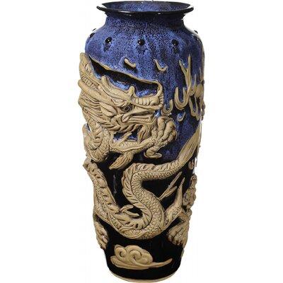 Kaja 3-D Dragon Stoneware Floor Vase