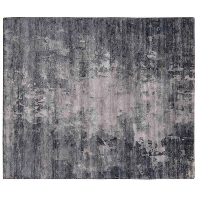 Abstract Expressions Hand-Knotted Silk Blue/Dark Gray Area Rug Rug Size: Rectangle 12 x 15