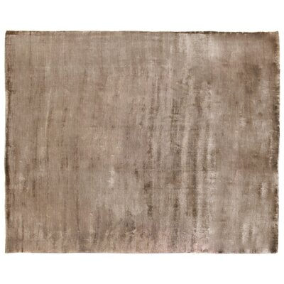 Purity Hand-Knotted Silk Brown Area Rug Rug Size: Rectangle 14 x 18