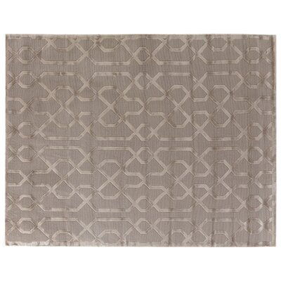 Hand-Knotted Wool/Silk Brown Area Rug Rug Size: Rectangle 14 x 18