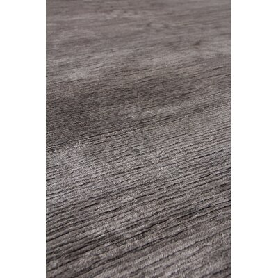 Crush Hand Knotted Silk Silver/Dark Silver Area Rug Rug Size: Rectangle 10 x 14