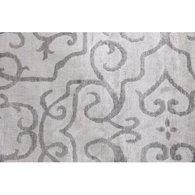 Hand-Knotted Ivory/Light Gray Area Rug Rug Size: Rectangle 9 x 12