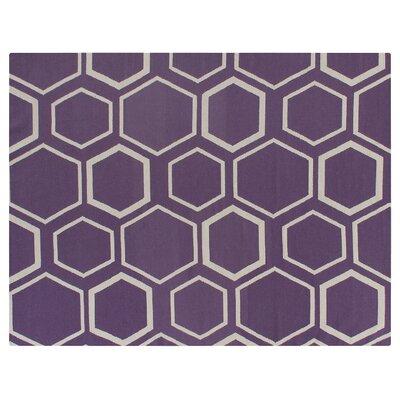 Hand-Woven Wool Purple/Beige Area Rug Rug Size: Rectangle 8 x 11