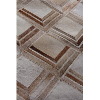 Natural Hide Beige/Brown Area Rug Rug Size: Rectangle 116 x 146