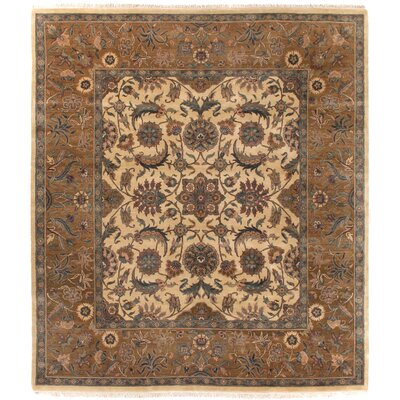 Traditional Hand-Knotted Wool Gold/Brown Area Rug Rug Size: Rectangle 9 x 12