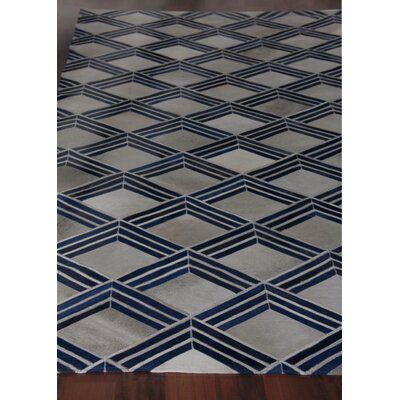 Natural Hide Leather Hand-Woven Navy Area Rug Rug Size: Rectangle 5 x 8