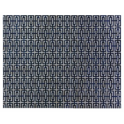 Natural Hide Leather Hand-Woven Navy Area Rug Rug Size: Rectangle 116 x 146