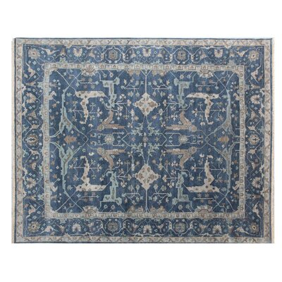 Oushak Hand Woven Wool Blue Area Rug Rug Size: Rectangle 10 x 14