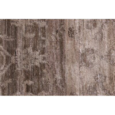 Antiqued Hand-Knotted Silk Beige Area Rug