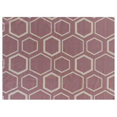 Hand-Woven Wool Pink/White Area Rug Rug Size: Rectangle 8 x 11