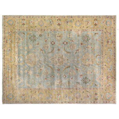 Oushak Hand-Knotted Wool Bluish Gray/Dark Beige Area Rug Rug Size: Rectangle 6 x 9