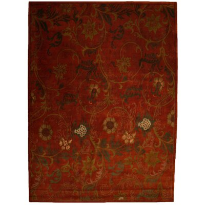 Super Tibetan Hand Knotted Wool/Silk Rust Area Rug Rug Size: Rectangle 9' x 12'