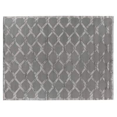 Hand-Knotted Wool Gray Area Rug Rug Size: Rectangle 14 x 18