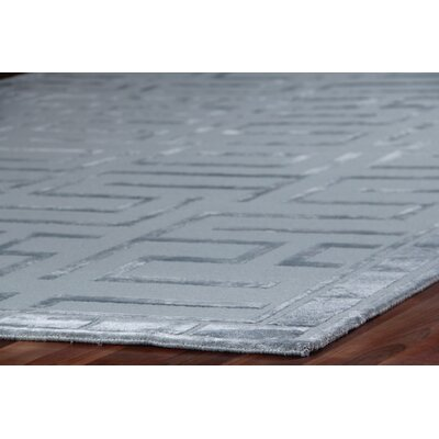 Hand-Knotted WoolSilver Area Rug Rug Size: Rectangle 12 x 15